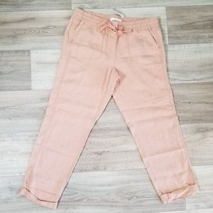 ANN TAYLOR LOFT Linen Drawstring Peach Pink Pants